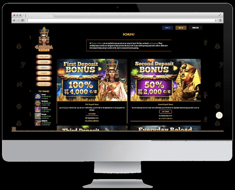 cleopatra bitcoin casino free spins bonus